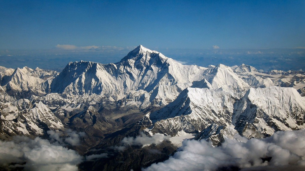 Aerial view of Mt Everest