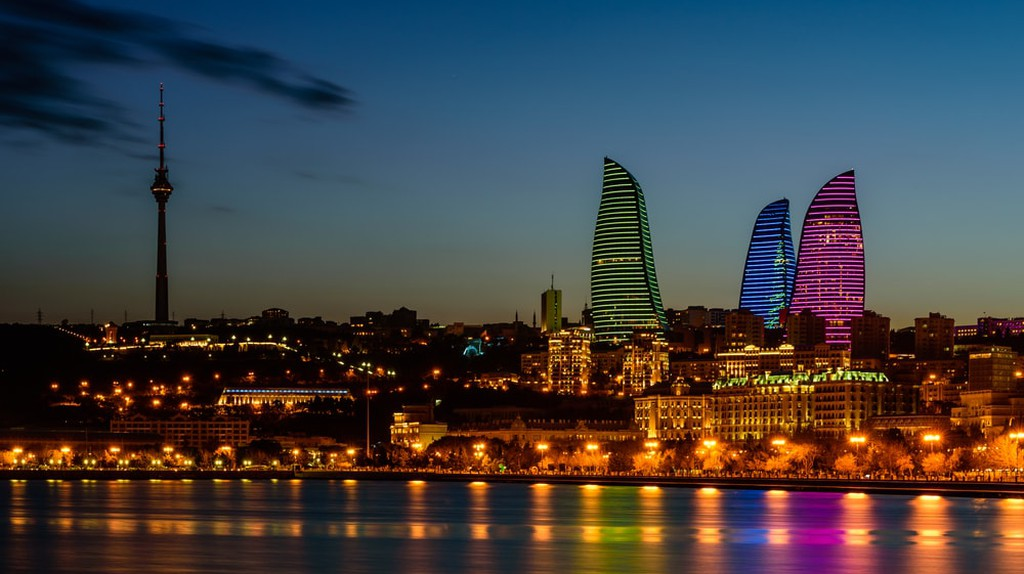 Night view of the Flame Towers in Baku, Azerbaijan   © RAndrei/Shutterstock