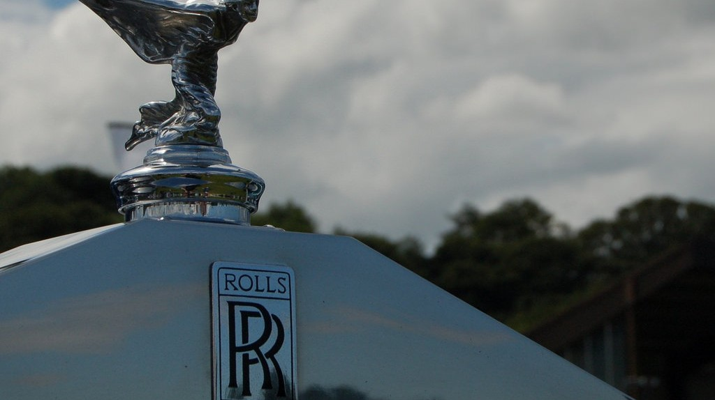 "The famous ""Flying Lady"" on a Rolls Royce car 