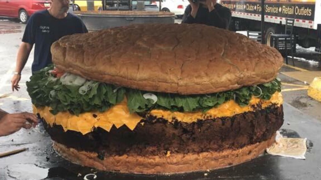 What an 1,800 pound burger looks like | Courtesy of Mallie's Sports Grill & Bar