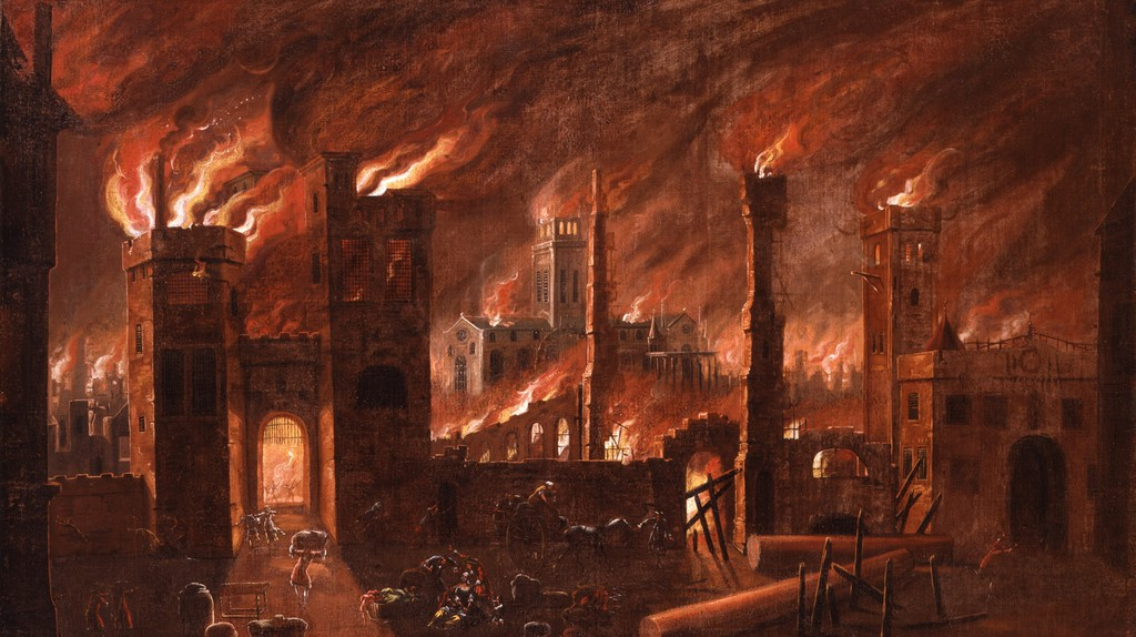 The Great Fire of London, seen from Ludgate