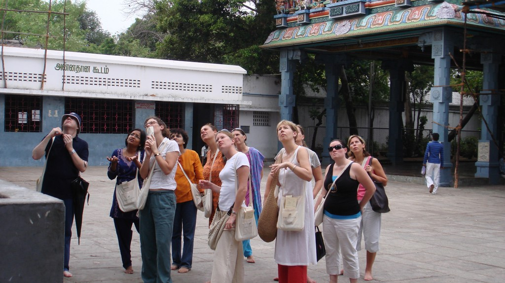 Tourists visiting the Kapaleeswarar Temple as part of a guided walk tour |