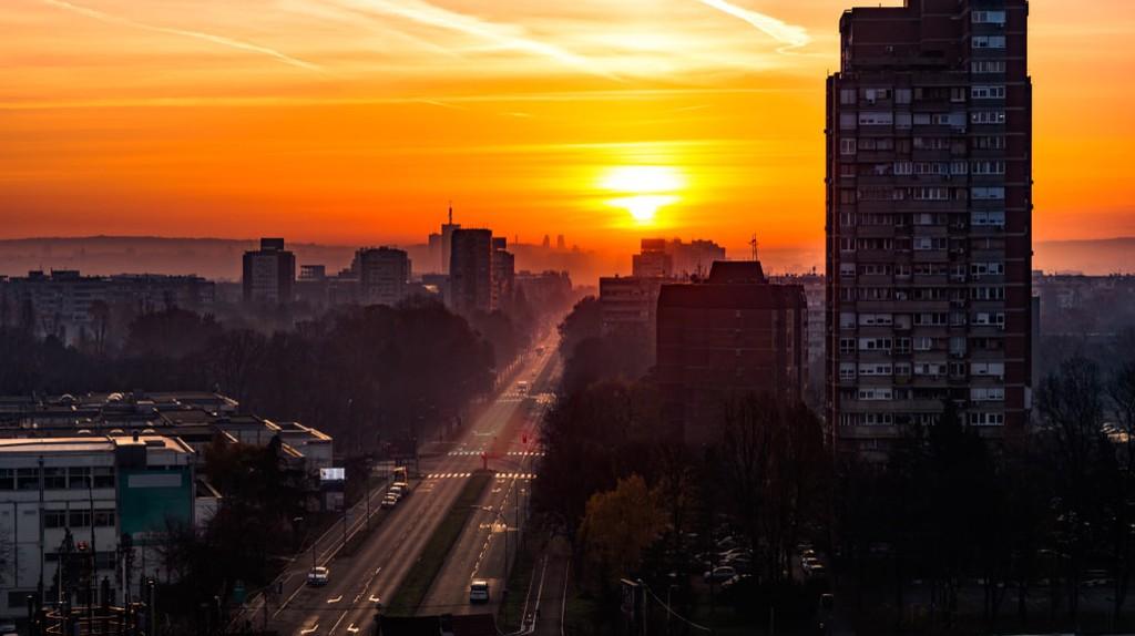 The sun sets over New Belgrade