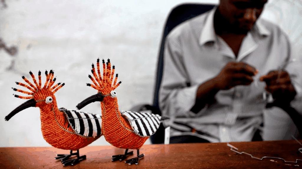 Beaded hoopoe birds
