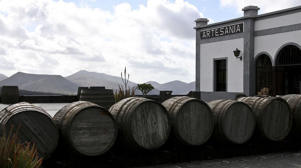 Wine barrels outside Lanzarote vineyard