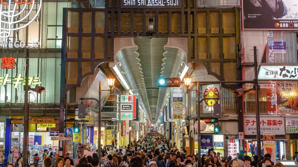 Shoppers crowd the Shinsaibashisuji shopping arcade at all hours.