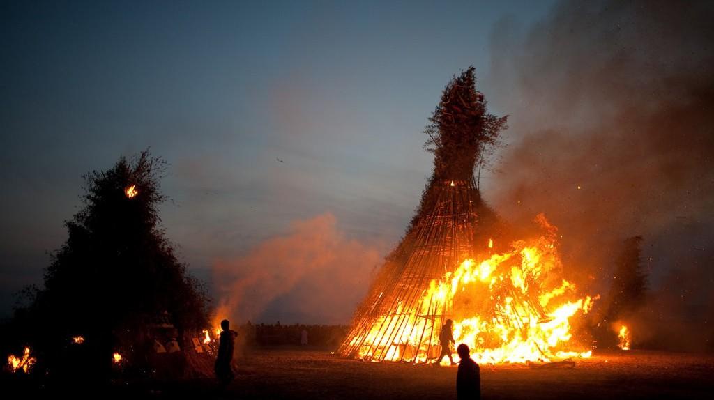 Fires burn during the Jeongwol Daeboreum Fire Festival in Busan