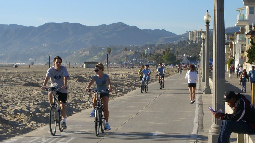Cyclists ride the Marvin Braude bike trail in Santa Monica