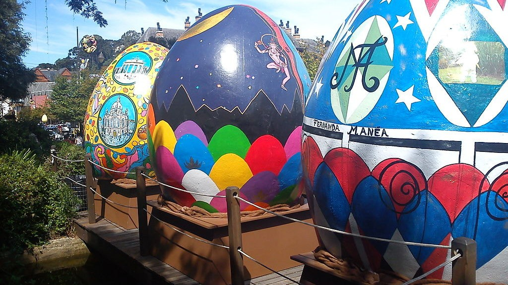 An exhibition of huge Easter eggs in the South of Brazil