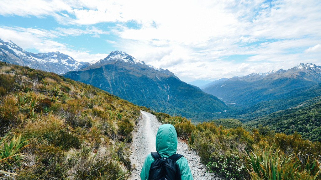 A hiker on the Milford Track, New Zealand