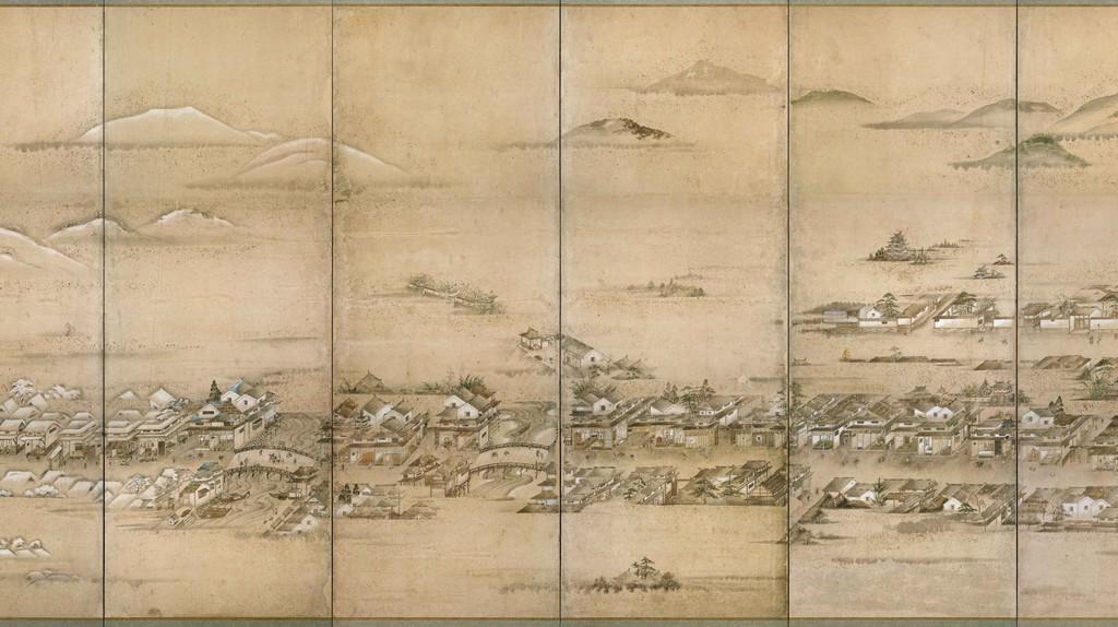 Folding screen detail of Hiroshima Castle Town, c. 1805 [artist unknown]   Hiroshima City Library / Public Domain