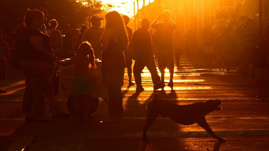 People in the street in León