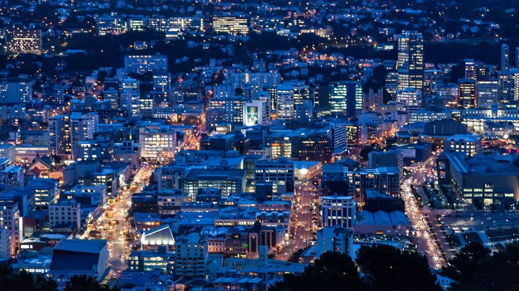Wellington city in the dusk