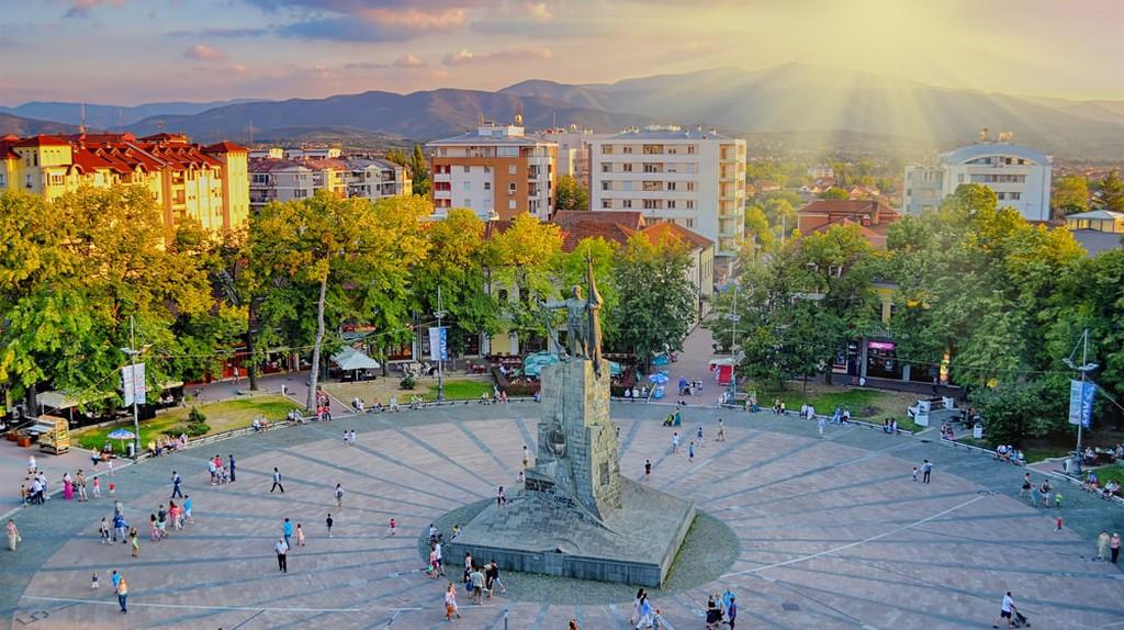 Sunset above the city of Kraljevo in Serbia