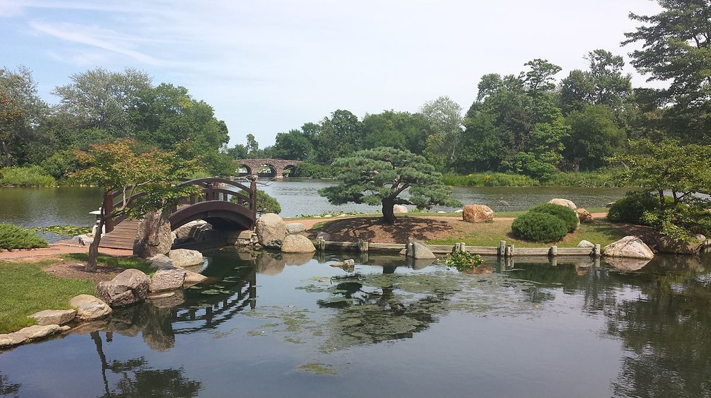 Jackson Park's Garden of the Phoenix is a traditional Japanese garden design with a koi pond and bridge.