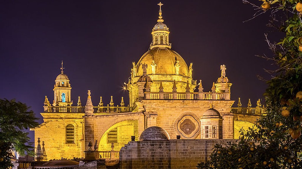 Jerez Cathedral by night