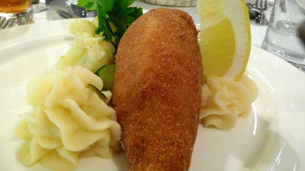 Chicken Kiev and mashed potatoes