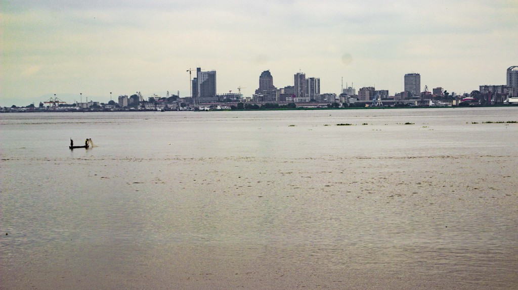 A vew of kinshasa across the river from brazzavile