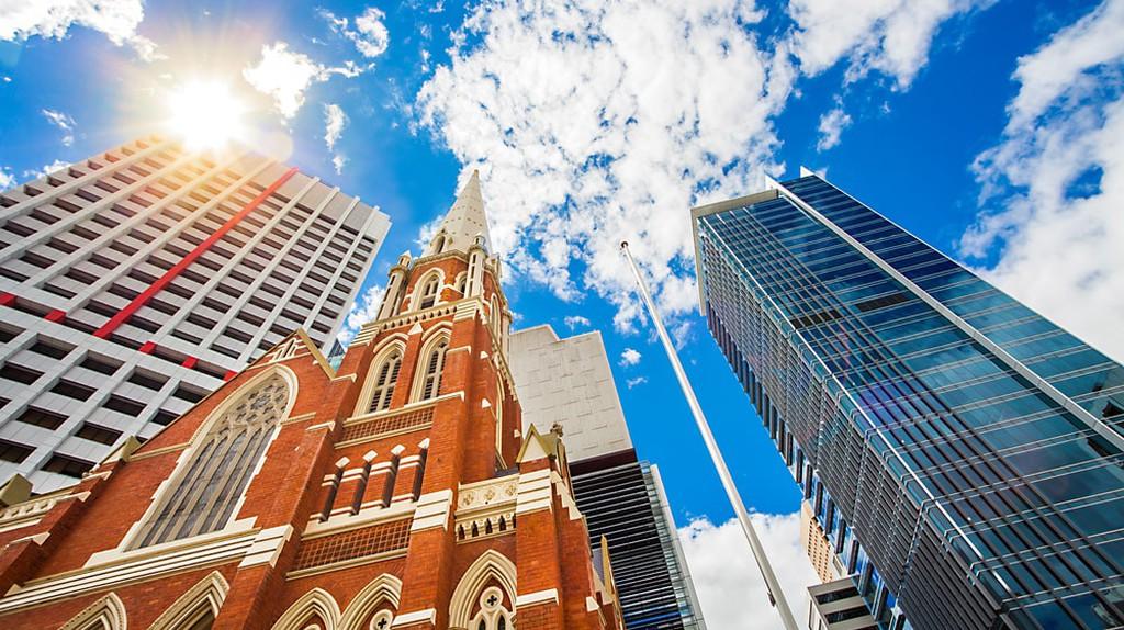 Looking up at Albert Street Uniting Church