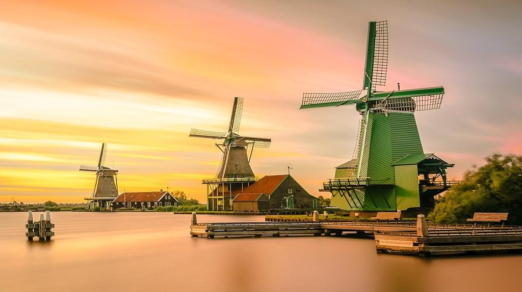 Sunset over the windmills at Zaanse Schans