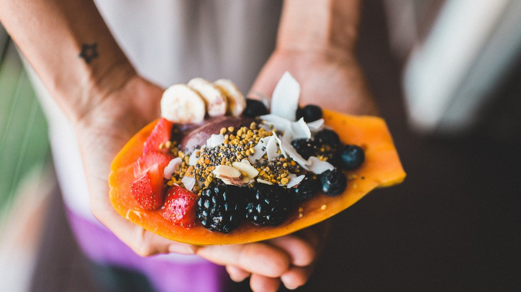 Mixed fruits salad with grated coconut