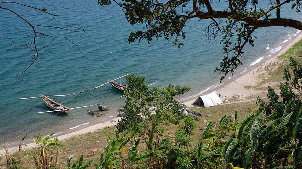 Fishing boats float on Lake Tanganyika, Burundi