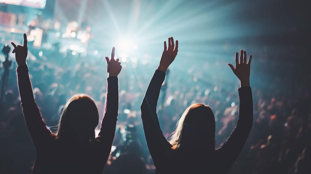 Music lovers enjoying a festival