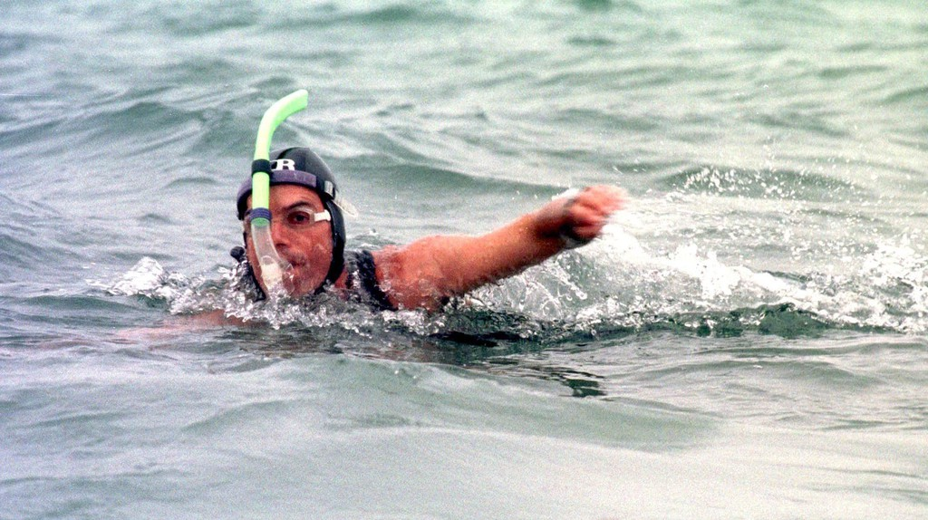 Ben Lecomte swimming across the Atlantic Ocean in 1998