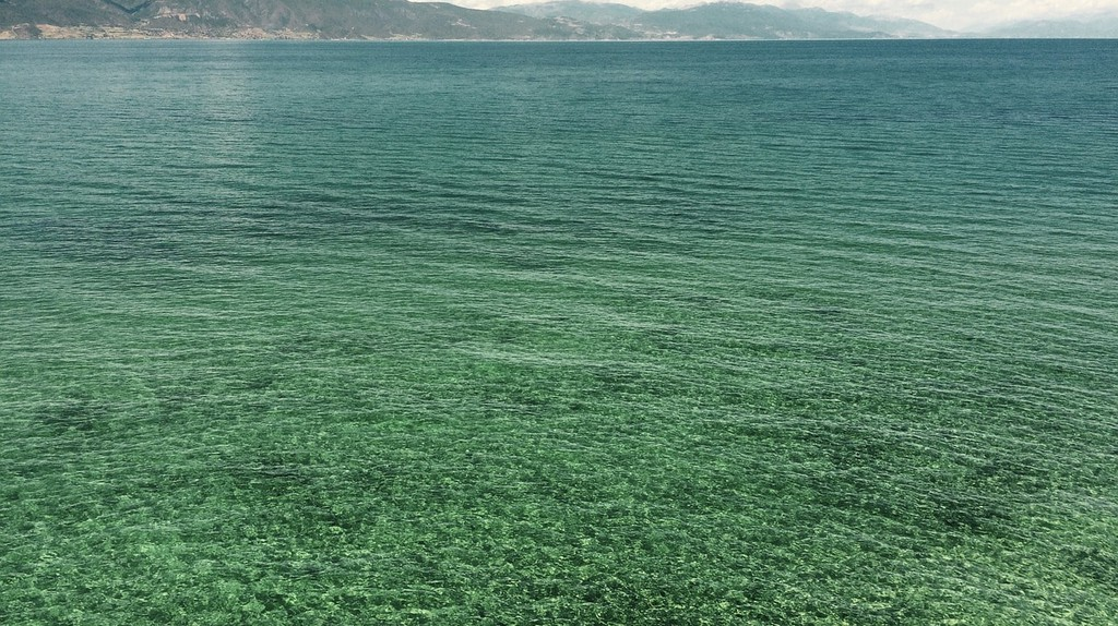 The clear waters of Ohrid Lake, perfect for a dip on warm summer days