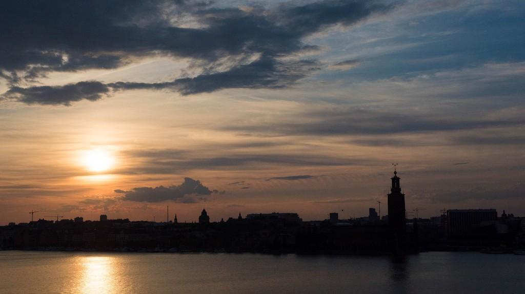 Sunset over Riddarholmen in Stockholm