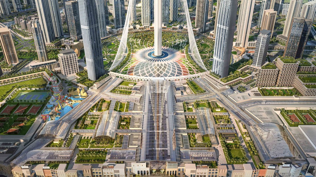 An aerial view of Dubai Square