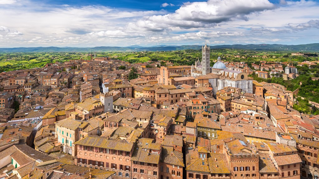 Aerial view of Siena, Italy