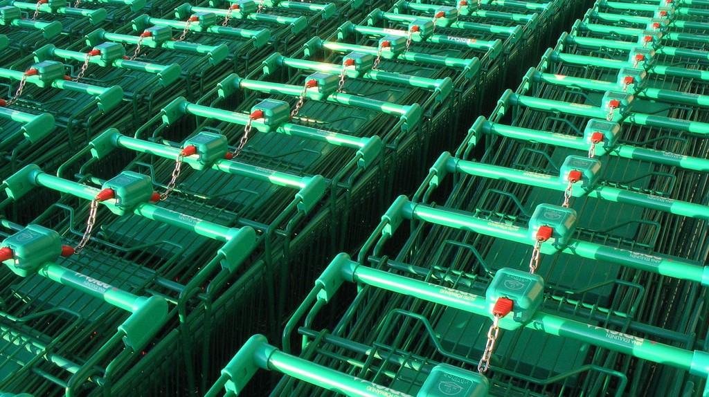 Green shopping trolleys