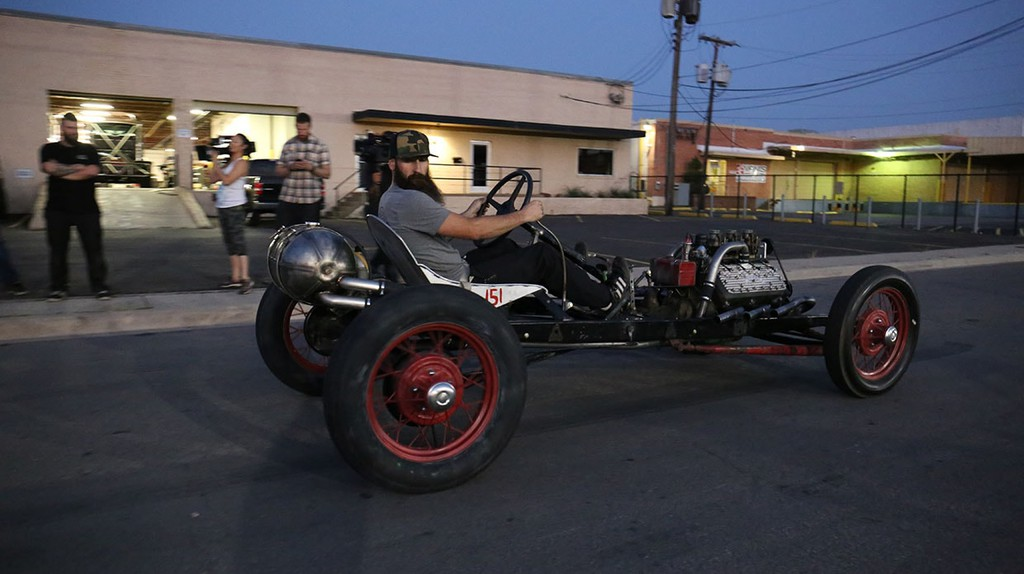 Aaron Kaufman of 'Shifting Gears' tests out one of his racing cars