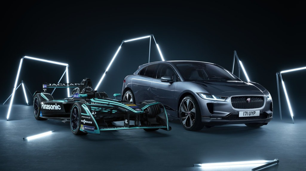 The I-TYPE 2 race car (left) has helped Jaguar develop the I-PACE electric SUV for consumers