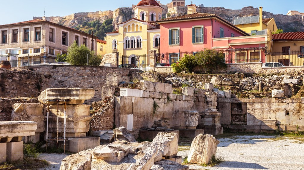 Remains of the Library of Hadrian, Athens, Greece.