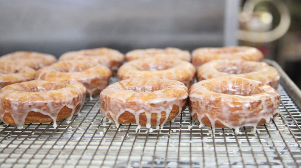 The Maine potato donuts are cloaked in a sticky glaze