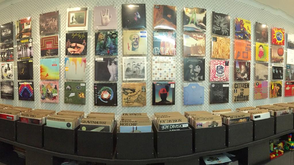 Record album display.