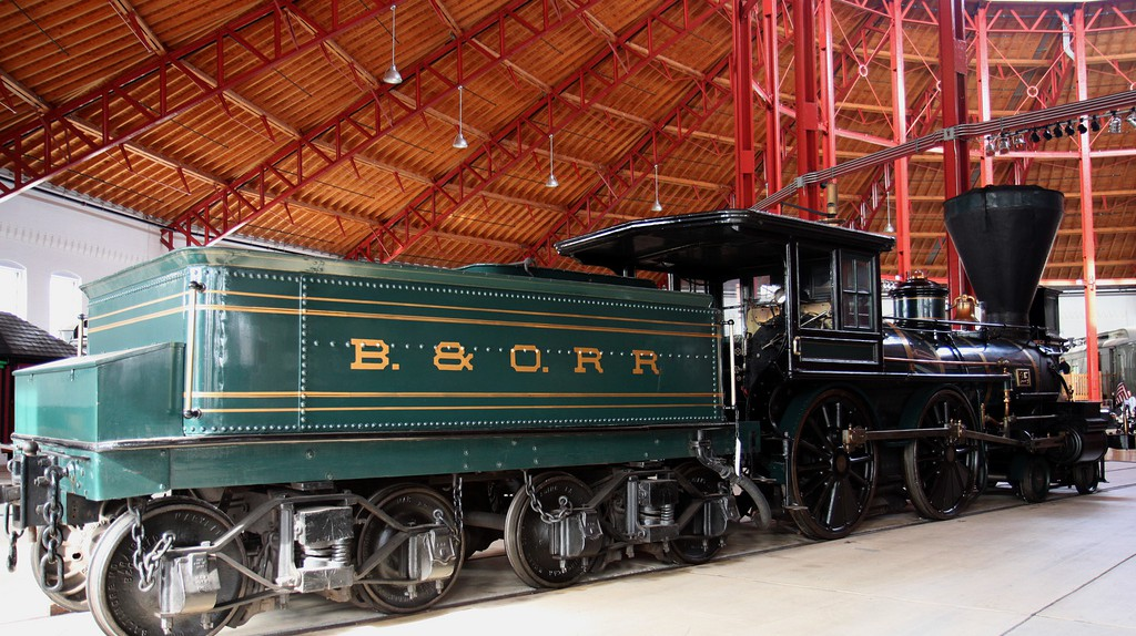 A historic B&O locomotive at the B&O Railroad Museum