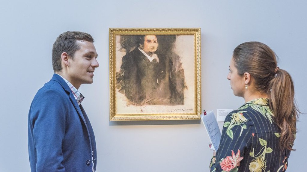 'Portrait of Edmond Belamy' (2018) on view at Christie's London