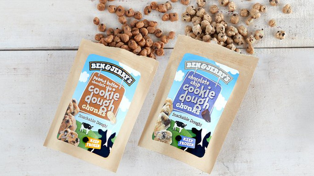 The cookie dough comes in two flavors: peanut butter and chocolate chip