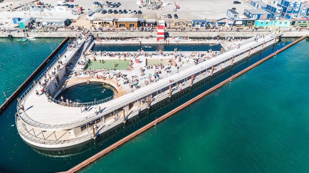 The world's largest harbour bath in Aarhus from above