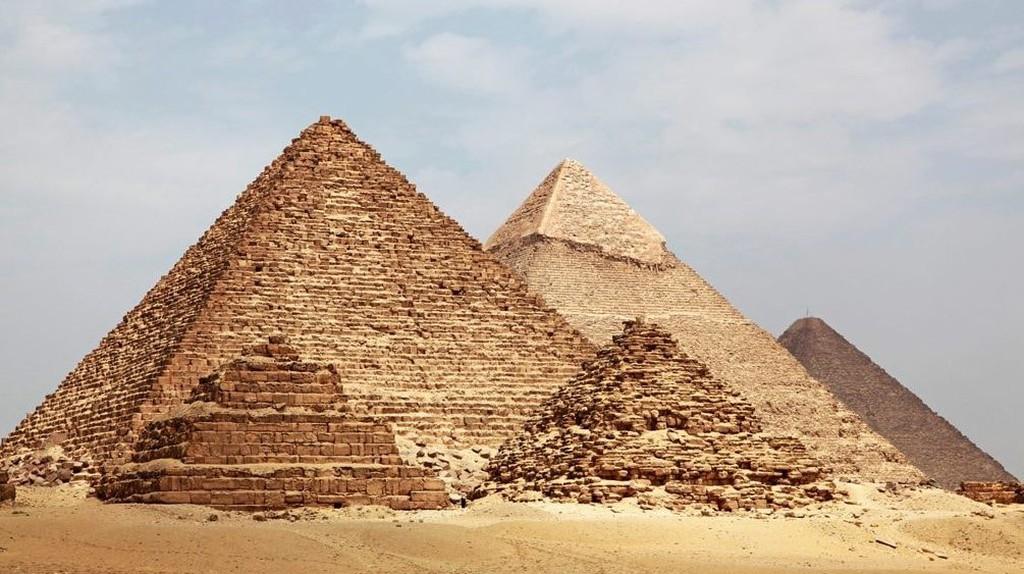 The Pyramid of Menkaure (Mycerinus), Pyramid of Khafre (Chephren) and Great Pyramid of Giza
