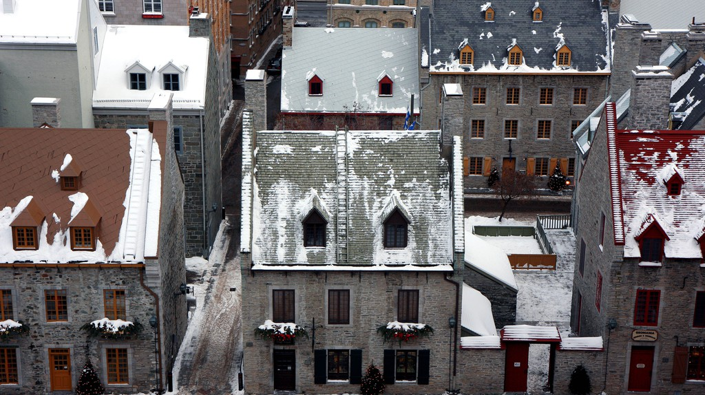 Quebec city in winter with snow
