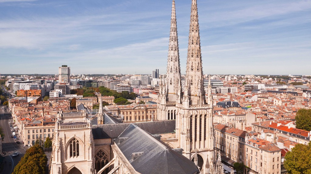 Looking down on the cathedral in Bordeaux, France.
