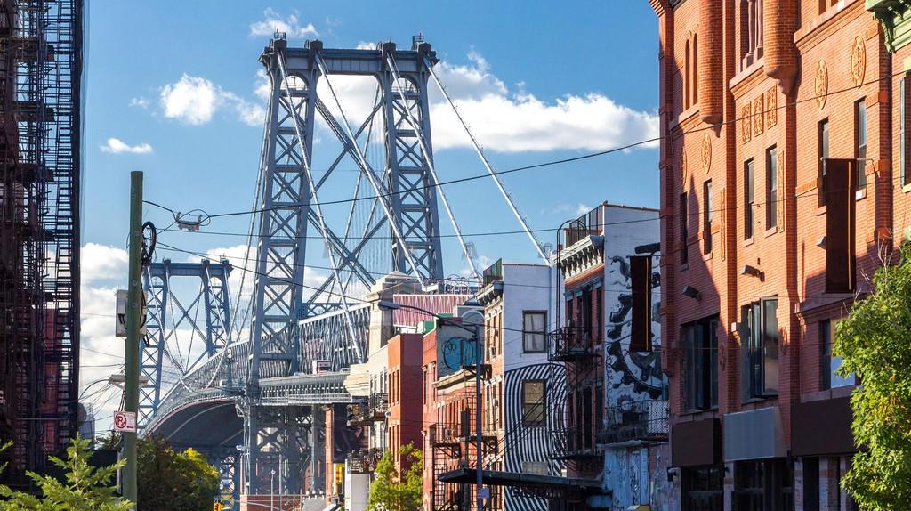 Williamsburg Bridge Street Scene in Brooklyn, New York City.