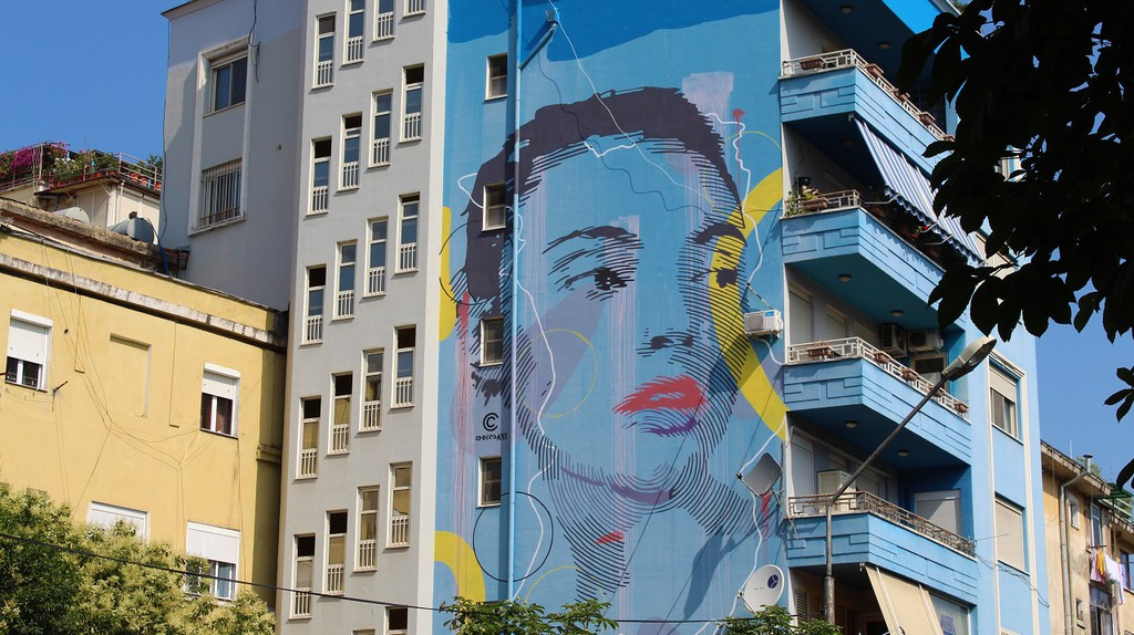 A mural realized by Chekos Art during MurAL Fest in Tirana