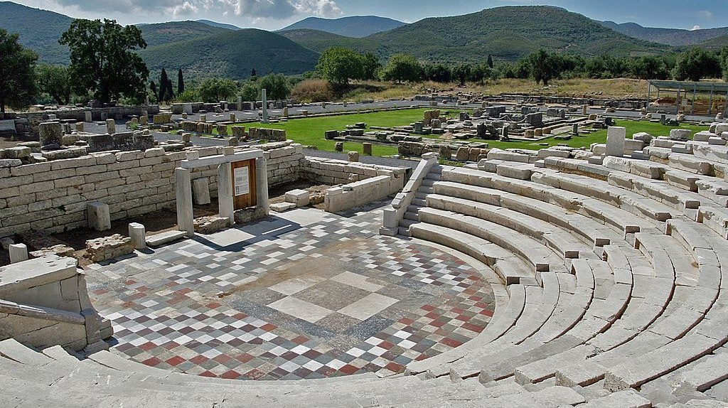 Ancient Messene, the Odeon, in the background the Agora with the Asklepieion can be seen