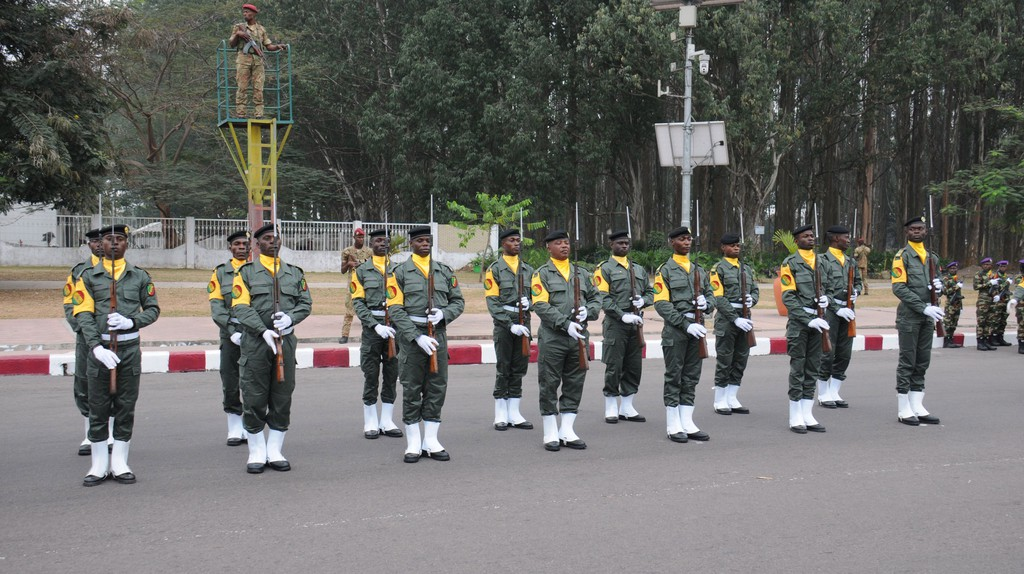 Soldiers take part in celebration for the 57th Anniversary of Independence, Brazzaville, Republic of Congo