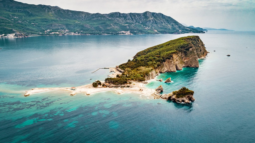 Aerial view of Sveti Nikola Island near Budva city at Adriatic Sea in Montenegro.